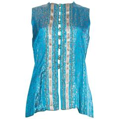 Thea Porter Silk Tunic with Silver Braid