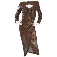 Vicky Tiel Vintage Couture Sexy Chocolate Brown Sequin Cut Out Bodycon Dress