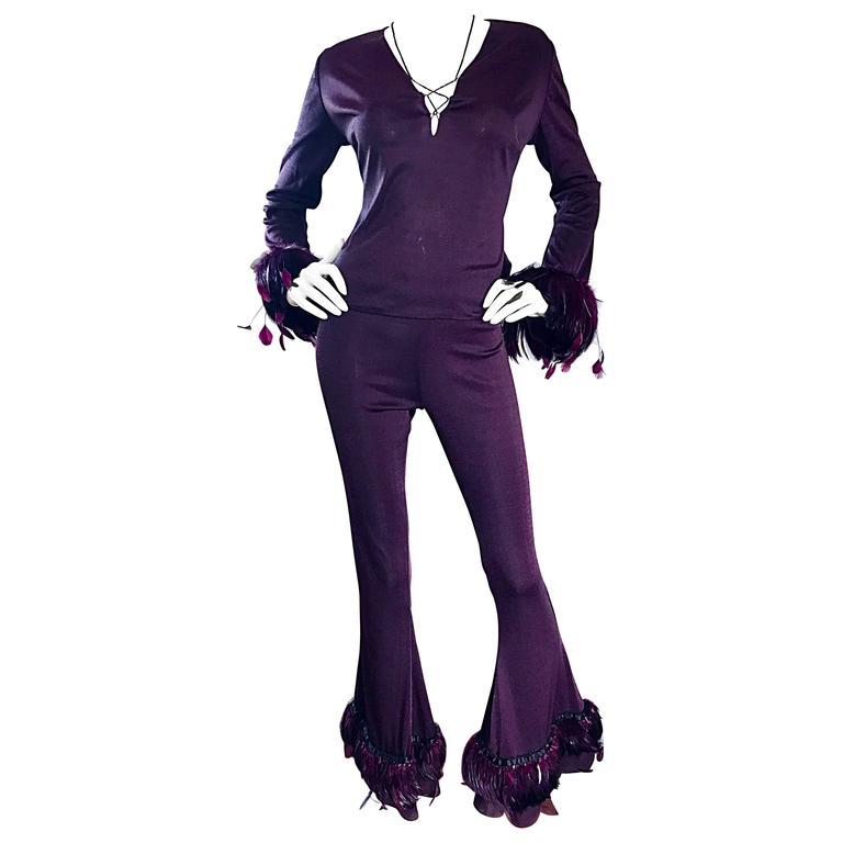 Pamela Dennis Vintage Couture Custom Made Aubergine Feather Trimmed Pant Set