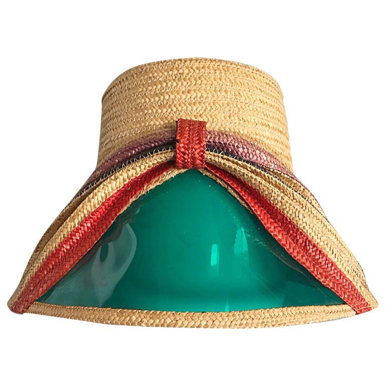Rare 1960s Italian Vintage 60s Straw Hat w  Built in   Sunglasses   Visor  Shade 93655147422