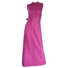 1960s Hanro Siesta Fuchsia Hot Pink Zig Zag Vintage 60s Kint Maxi Dress w/ Bow