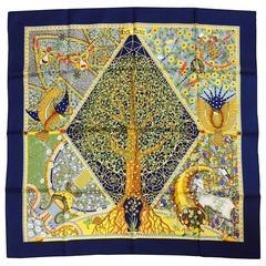 Hermes Axis Mundi Navy Silk Twill Carre by Christine Henry