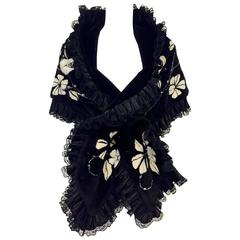 Zuki Black Onyx Sheared Beaver Vines and New Flowers Stole With Mink Accents
