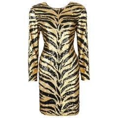 LILLIE RUBIN c.1980's Gold Black Sequin Bead Tiger Stripe Cocktail Evening Dress