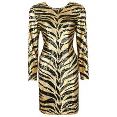 LILLIE RUBIN c.1980's Gold Black Sequin Bead Tiger Stripe Cocktail Evening Dress