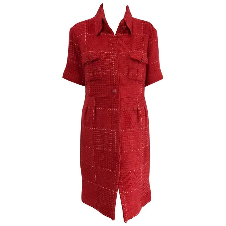 Chanel Strawberry Red Wool Tweed Short Sleeve Shirt Dress With Pockets  For Sale