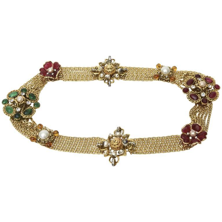 Signed Chanel Rare 8 Flower Gripoux, Pate de Verre Gold Tone &Faux Pearl Belt 1