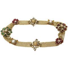 Signed Chanel Rare 8 Flower Gripoux, Pate de Verre Gold Tone &Faux Pearl Belt