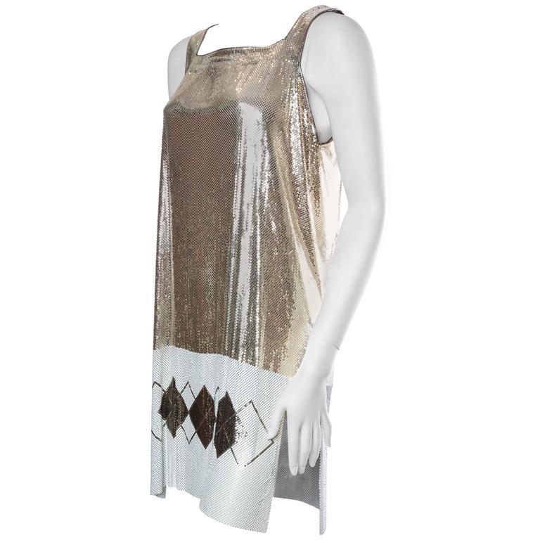 Metal Mesh mini Dress with Slits