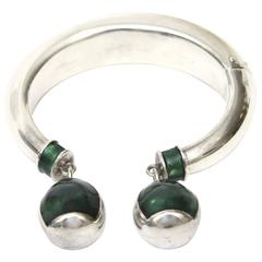 Gucci Italy Sterling Silver and Malachite Enamel Bracelet/Cuff