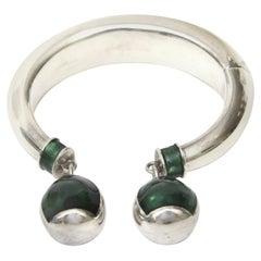 Gucci Sterling Silver and Malachite Enamel Bracelet