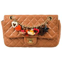 Chanel Cruise Light Brown Lambskin Leather Quilted Charm Classic Flap Bag