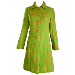 1960s Neon Lime Green and Orange Checkered Vintage 60s Wool Swing Jacket Coat