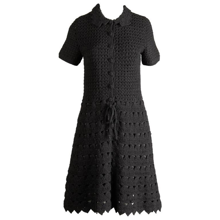 1960s Vintage Black Wool Hand Crochet Dress For Sale
