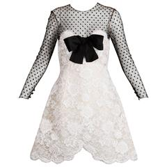 Bill Blass Vintage Black Mesh + White Lace Cocktail Dress with Silk Bow