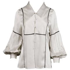 Wes Gordon Creamy Striped Silk Blouse with Blouson Sleeves and Matching Scarf