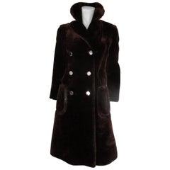 Louis Feraud Paris Brown Sheared Beaver Fur Coat