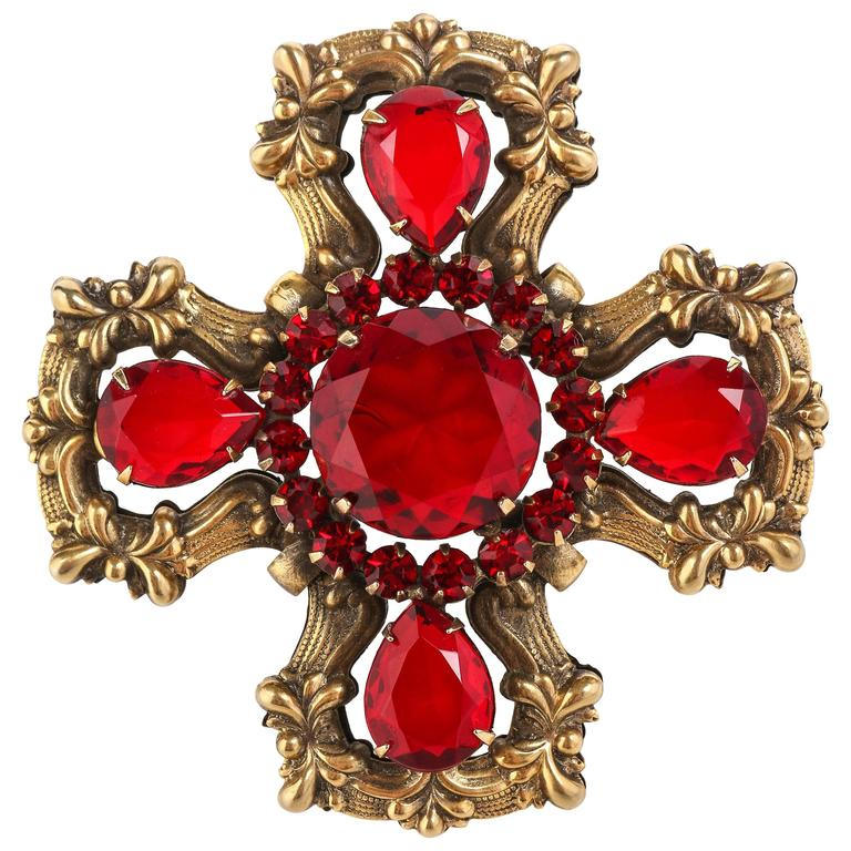 c.1940's Maltese Cross Brass Ruby Red Faceted Cut Glass Open Work Brooch Pin 1