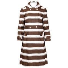 Sandra Sage 1960s Vintage Brown + White Striped Mod Coat