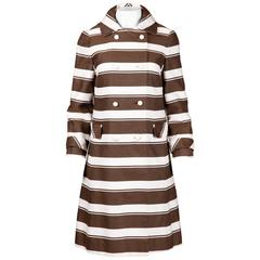 Sandra Sage 1960s Vintage Brown + White Striped Mod Coat