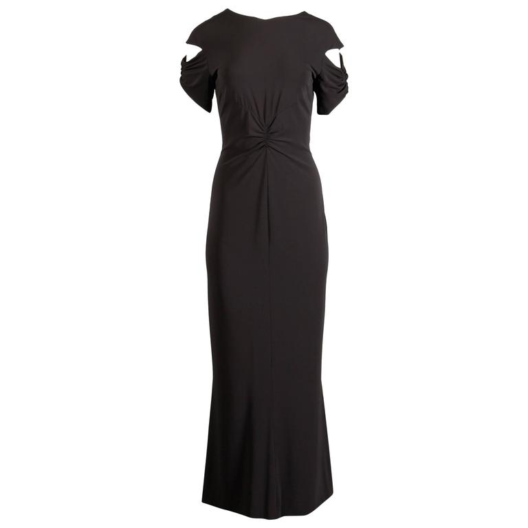 Chanel Slinky Jersey Knit Evening Gown/ Dress with Cut Out Sleeves and CC Button