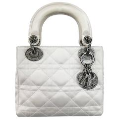 CHRISTIAN DIOR White Cannage Silk Satin Crystal Hardware Mini Lady Dior Bag