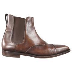 Men's YVES SAINT LAURENT Size 8.5 Brown Leather Cap Toe Chelsea Boots