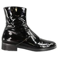 Men's BALENCIAGA Size 8 Black Patent Leather Chelsea Zip Ankle Boots