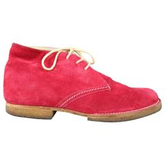 Men's JIL SANDER Size 8 Red Suede Crepe Sole Chukka Boots