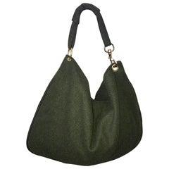 1970s Joseph Magnin Hunter Green Made in Italy Wool XL Hobo Vintage Shoulder Bag