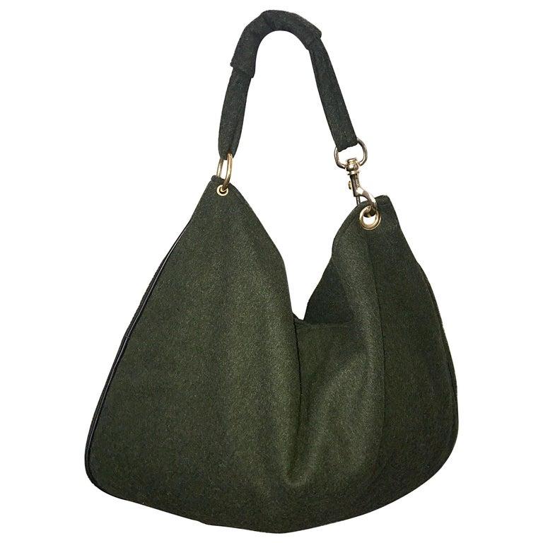 1970s Joseph Magnin Hunter Green Made in Italy Wool XL Hobo Vintage Shoulder Bag For Sale