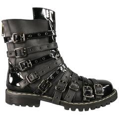 Men's GARETH PUGH Size 10 Black Leather & Patent Strappy Belt Combat Boots