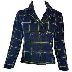 Chic 1960s Vintage Navy Blue, Green, Yellow Tartan Plaid Double Breasted Blazer