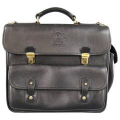 GHURKA Black Leather -Back Office No.149- Convertible STrap Backpack Satchel