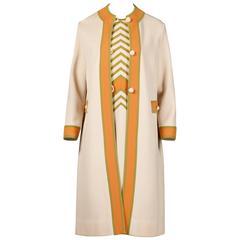 Gianni Ferri for Banff Ltd 1960s Vintage Color Block Coat + Dress 2-Pc Ensemble