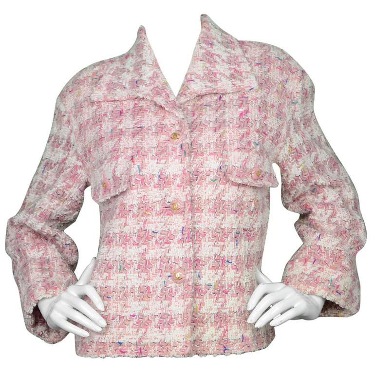 Chanel Pink Fantasy Tweed Jacket For Sale