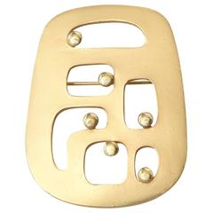 Signed Eisenberg Gold Plated Modernist Pin/ Brooch