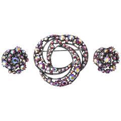 Signed Florenza Boris Aurealis Crystal Circular Pin & Clip On Earrings