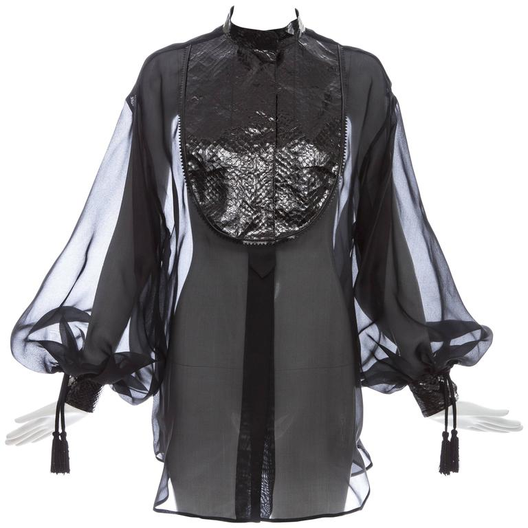 Christian Dior Numbered Black Silk Organza Blouse, Circa 1980's For Sale
