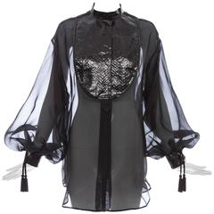 Christian Dior Numbered Black Silk Organza Blouse, Circa 1980's