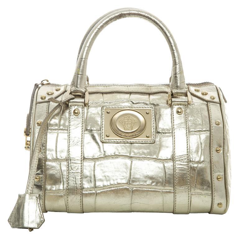 Versace Madonna Embossed Metallic Gold Leather Top Handle Handbag