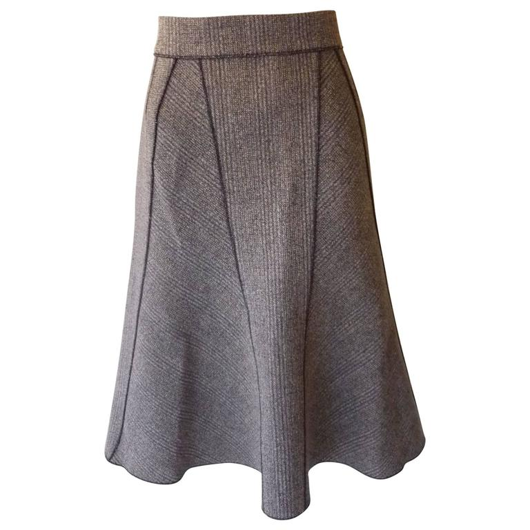 prada tweed a line skirt with edging and tonal