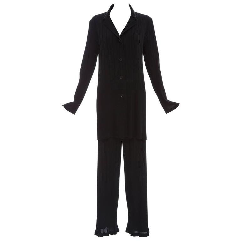 Issey Miyake Black Pleated Polyester Button Front Pant Suit, Circa 1990's For Sale