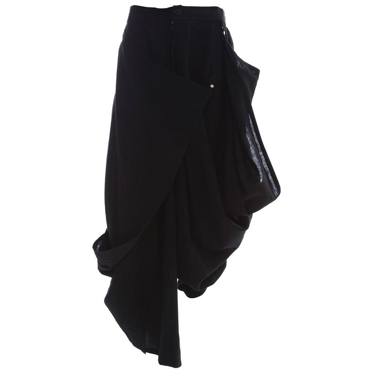 Kansai Yamamoto Black Linen Cotton Harem Pants, Circa 1980's For Sale