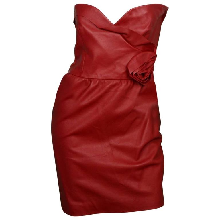 f2afe3fcb331 Valentino NWT Red Leather Strapless Dress w/ Rose rt. $4,200 For Sale