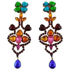 Yves Saint Laurent YSL Vintage Bejeweled Shoulder Duster Dangling Earrings