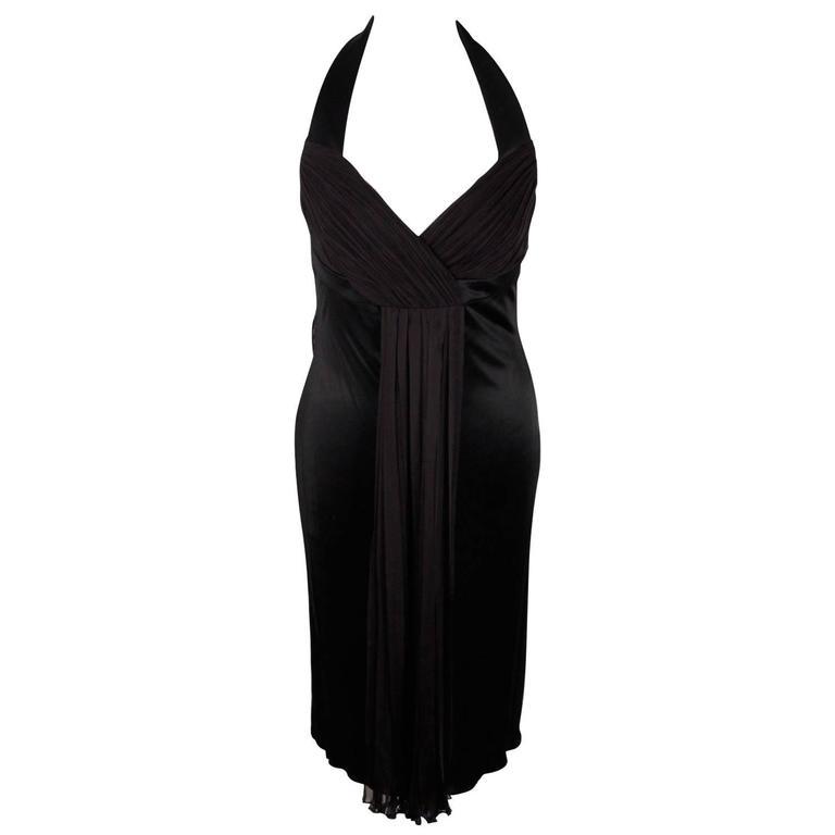 VERSACE Black Jersey HALTERNECK DRESS Size 42