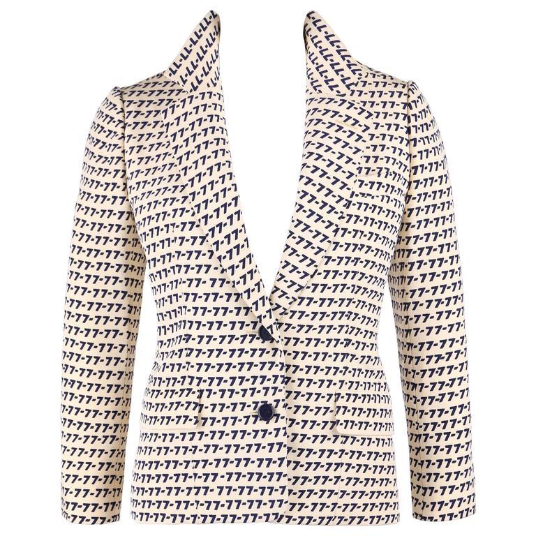 "CHRISTIAN DIOR S/S 1977 Couture Marc Bohan Cream Navy ""77"" Print Blazer Jacket"