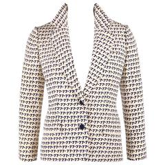 "CHRISTIAN DIOR S/S 1977 Couture Marc Bohan Cream Navy ""77"" Print Blazer Jacket"