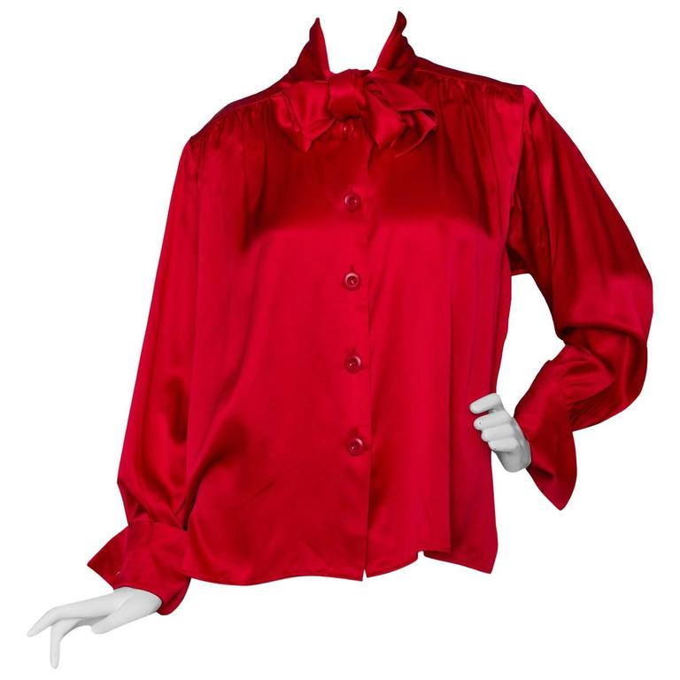 A 1980s Vintage Fire Engine Red Yves Saint Laurent Silk Blouse W Pussy Bow For Sale